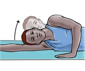 Head lift with neck side bend